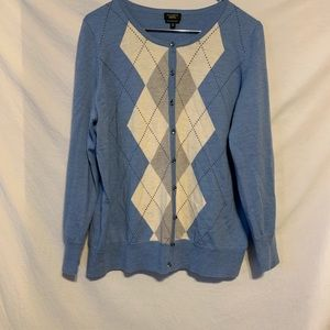 Talbots petite 1X blue argyle wool Cardi sweater